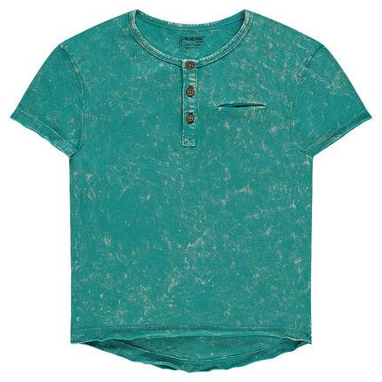 Παιδικά - Κοντομάνικη μπλούζα νηματοβαφή με κουμπάκια στη λαιμόκοψη