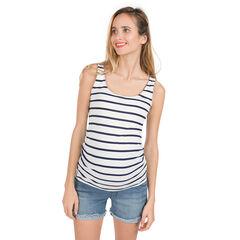 Αμάνικη ριμπ μπλούζα εγκυμοσύνης με φαντεζί πλάτη