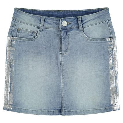 Παιδικά - Τζιν φούστα με used όψη και ασημί λωρίδες