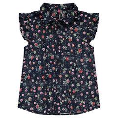 Παιδικά - Κοντομάνικο πουκάμισο με βολάν με λουλούδια σε όλη την επιφάνεια