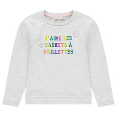 Παιδικά - Μονόχρωμο φανελένιο φούτερ με φαντεζί μοτίβο