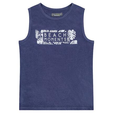 Παιδικά - Ζέρσεϊ αμάνικο μπλουζάκι με τυπωμένα γράμματα