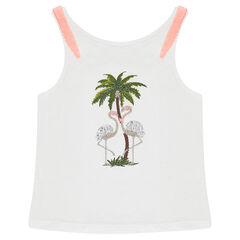 Αμάνικη μπλούζα από ζέρσεϊ με μοτίβο ροζ φλαμίνγκο
