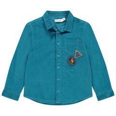 Μακρυμάνικο κοτλέ μπλε πουκάμισο με τσέπη και σήματα