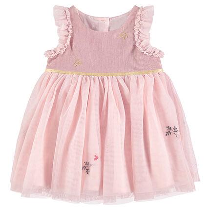 Ροζ γιορτινό φόρεμα από δύο υλικά με τούλι και βολάν