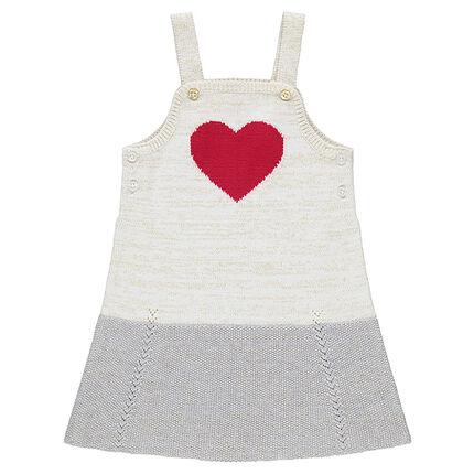 Πλεκτό φόρεμα-σαλοπέτα με κόκκινη καρδιά ζακάρ