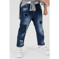 Παντελόνι με όψη used ντένιμ, σκισίματα και τσέπες