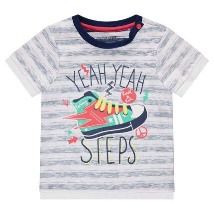 Κοντομάνικη μπλούζα με στάμπα παπούτσι και ρίγες
