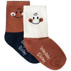 Lot de 2 paires de chaussettes bicolores Smiley