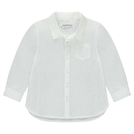 Μακρυμάνικο πουκάμισο σε βαμβακερή ύφανση