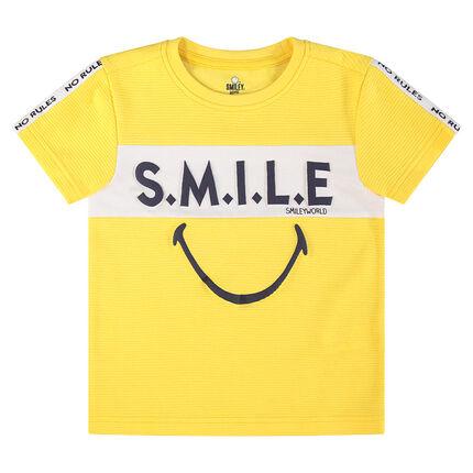 Κοντομάνικη μπλούζα με στάμπα ©Smiley και τυπωμένη φράση