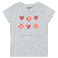 Κοντομάνικη μπλούζα από ζέρσεϊ με λουλούδια και διακοσμητικές πέρλες