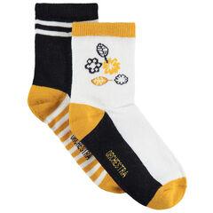 Σετ με 2 ζευγάρια ασορτί κάλτσες με λουλουδάκια/ρίγες ζακάρ
