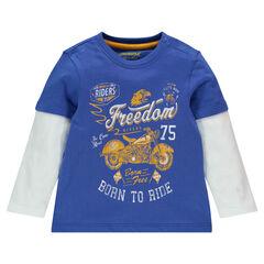 Μακρυμάνικη μπλούζα με εφέ 2 σε 1 και τυπωμένη μοτοσικλέτα