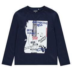 Παιδικά - Μακρυμάνικη μπλούζα από ζέρσεϊ με διακοσμητικό μοτίβο