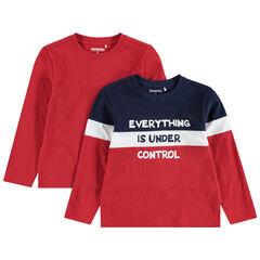 Παιδικά - Σετ 2 μακρυμάνικες μπλούζες, μία μονόχρωμη / μία τρίχρωμη με τυπωμένο μήνυμα