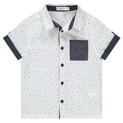 Κοντομάνικο πουκάμισο με εμπριμέ μοτίβο και σαμπρέ λεπτομέρειες