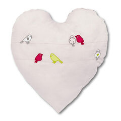 Μαξιλαράκι σε σχήμα καρδιάς από βαμβακερό πικέ με κεντητά πουλάκια