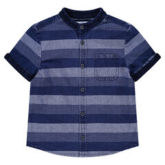 Κοντομάνικο πουκάμισο με όψη ντένιμ και λωρίδες σε αντίθεση