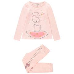 Ζέρσεϊ ροζ πιτζάμα με τυπωμένη χορεύτρια