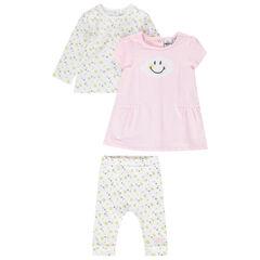 Σύνολο με μπλούζα, παντελόνι-κολάν και αμάνικο φόρεμα με μοτίβο Smiley