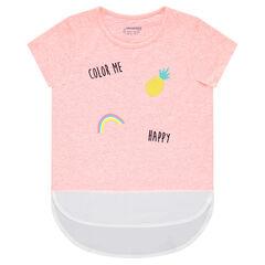 Κοντομάνικη μπλούζα από ζέρσεϊ και κρεπ με διακοσμητικό μοτίβο