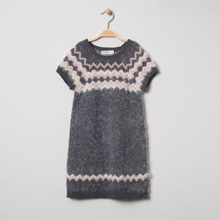 Κοντομάνικο πλεκτό φόρεμα με ζακάρ μοτίβα και χνουδωτή υφή