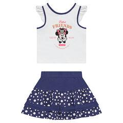 Σύνολο αμάνικη μπλούζα με στάμπα Μίνι της ©Disney και φούστα με βολάν