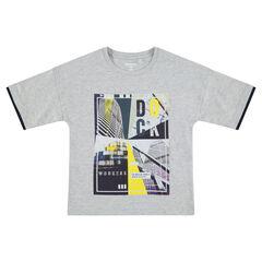 Παιδικά - Κοντομάνικη ζέρσεϊ μπλούζα με πολύχρωμο τυπωμένο μοτίβο