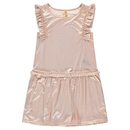 Παιδικά - Κοντομάνικο φόρεμα από επιχρισμένο ύφασμα με βολάν