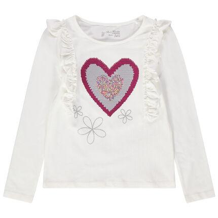 Κοντομάνικη μπλούζα με βολάν στα μανίκια και καρδιά από «μαγικές» πούλιες