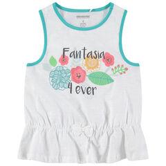 Αμάνικη μπλούζα από ζέρσεϊ με στάμπα λουλούδια και γκλίτερ