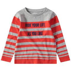 Μακρυμάνικη ριγέ μπλούζα με τυπωμένο μήνυμα