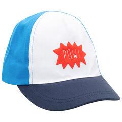Τρίχρωμο καπέλο με τύπωμα.