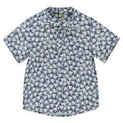 Chemise manches courtes imprimée palmiers all-over avec poche