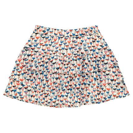 Κρεπ φούστα με βολάν και φλοράλ μοτίβο