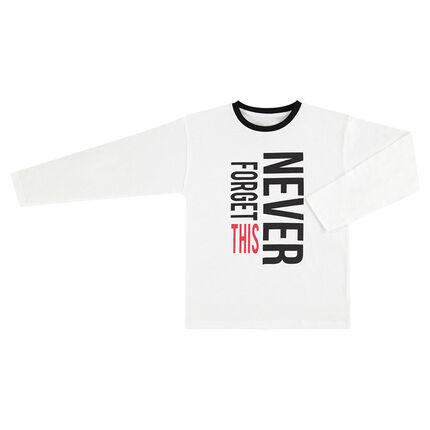 Παιδικά - Μακρυμάνικη λευκή μπλούζα με τυπωμένο κείμενο