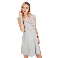 Φόρεμα εγκυμοσύνης από μελανζέ ύφασμα με βολάν στη λαιμόκοψη