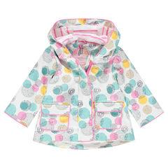 Αντιανεμικό αδιάβροχο μπουφάν με κουκούλα και εμπριμέ μοτίβο