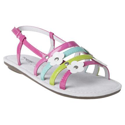 Nu-pieds à brides colorées patchs fleurs et rivets