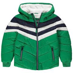 Παιδικά - Καπιτονέ μπουφάν με κουκούλα και επένδυση από φλις και sherpa