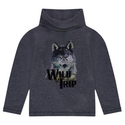 Μακρυμάνικη μπλούζα με τυπωμένο λύκο
