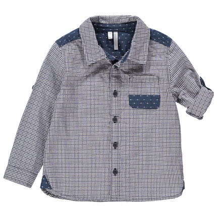 Μακρυμάνικο πουκάμισο καρό με φάσες με μοτίβο ζακάρ