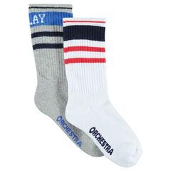 Σετ 2 ζευγάρια ασορτί ψηλές κάλτσες σε στυλ vintage