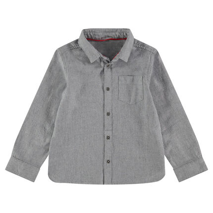 Βαμβακερό πικέ πουκάμισο με μακριά μανίκια και τσέπη