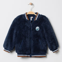 Veste en sherpa esprit teddy à badge patché