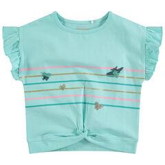 Κοντομάνικη μπλούζα με βολάν και ρίγες με πεταλούδες από πούλιες