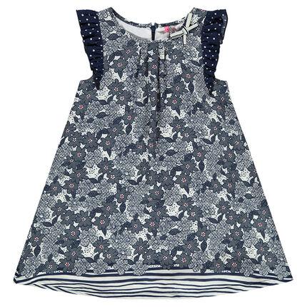 Κρεπ φόρεμα με φλοράλ μοτίβο και ρίγες