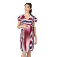 Κοντομάνικο φόρεμα σε στυλ κιμονό με κάθετες ρίγες