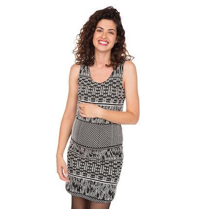 Αμάνικο φόρεμα εγκυμοσύνης με ζακάρ μοτίβο